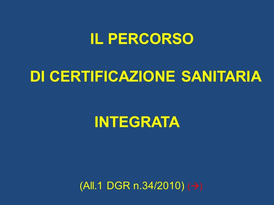 IL PERCORSO DI CERTIFICAZIONE SANITARIA INTEGRATA (All.1 DGR n.34/2010) ( )