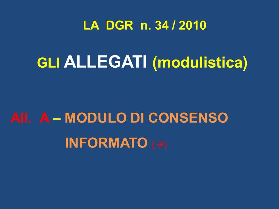 All. A – MODULO DI CONSENSO INFORMATO ( ) LA DGR n. 34 / 2010 GLI ALLEGATI (modulistica)