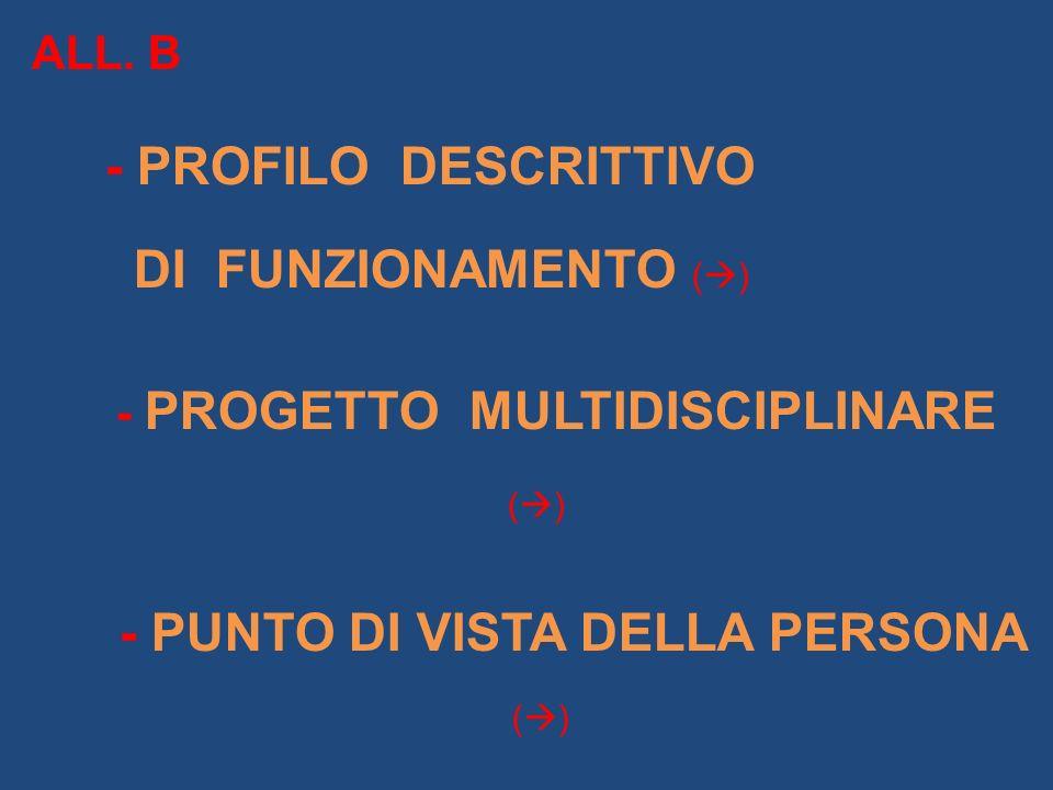 ALL. B - PROFILO DESCRITTIVO DI FUNZIONAMENTO ( ) - PROGETTO MULTIDISCIPLINARE ( ) - PUNTO DI VISTA DELLA PERSONA ( )