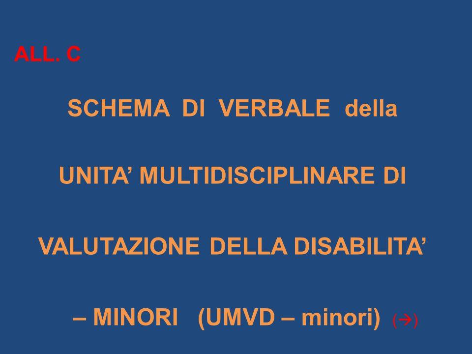 ALL. C SCHEMA DI VERBALE della UNITA MULTIDISCIPLINARE DI VALUTAZIONE DELLA DISABILITA – MINORI (UMVD – minori) ( )