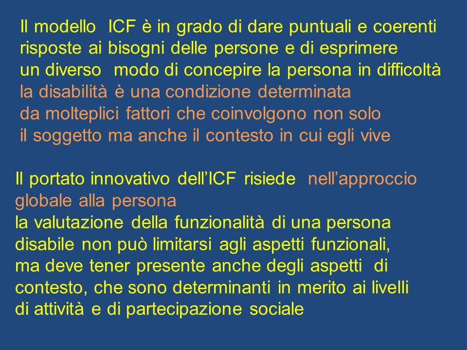Il modello ICF è in grado di dare puntuali e coerenti risposte ai bisogni delle persone e di esprimere un diverso modo di concepire la persona in diff