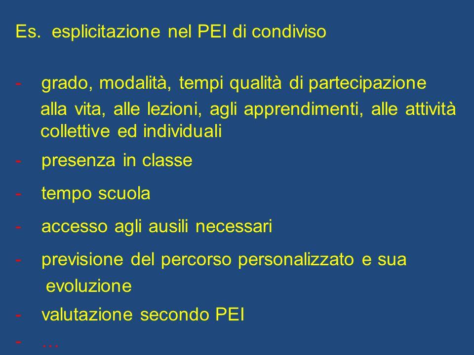 Es. esplicitazione nel PEI di condiviso - grado, modalità, tempi qualità di partecipazione alla vita, alle lezioni, agli apprendimenti, alle attività