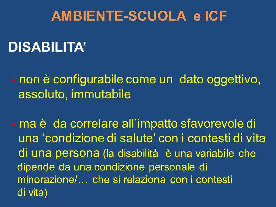 AMBIENTE-SCUOLA e ICF DISABILITA - non è configurabile come un dato oggettivo, assoluto, immutabile - ma è da correlare allimpatto sfavorevole di una