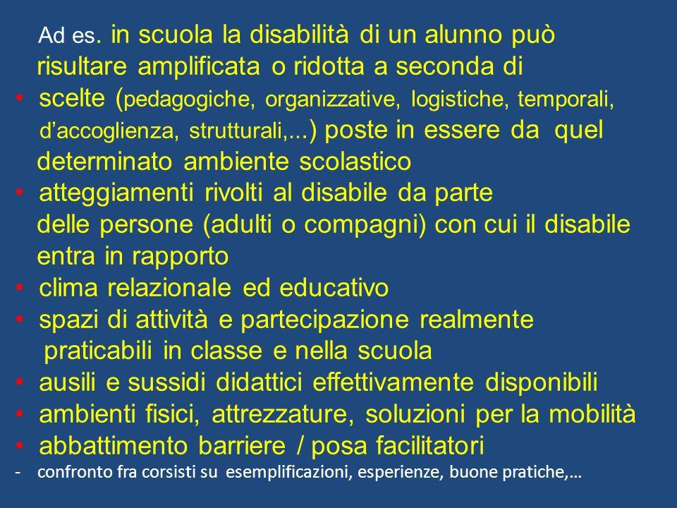 Ad es. in scuola la disabilità di un alunno può risultare amplificata o ridotta a seconda di scelte ( pedagogiche, organizzative, logistiche, temporal