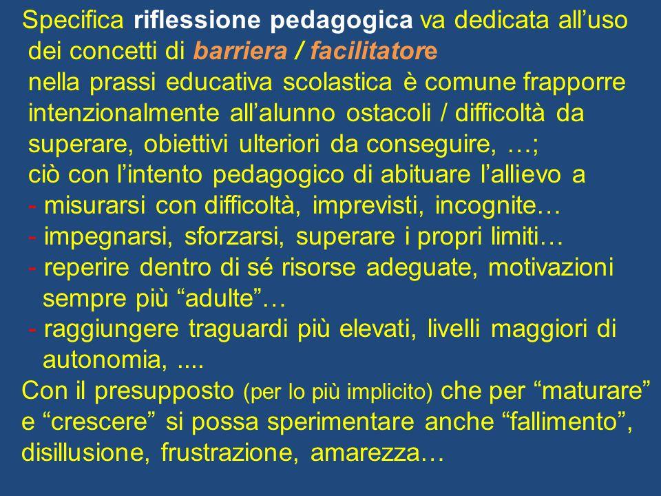 Specifica riflessione pedagogica va dedicata alluso dei concetti di barriera / facilitatore nella prassi educativa scolastica è comune frapporre inten