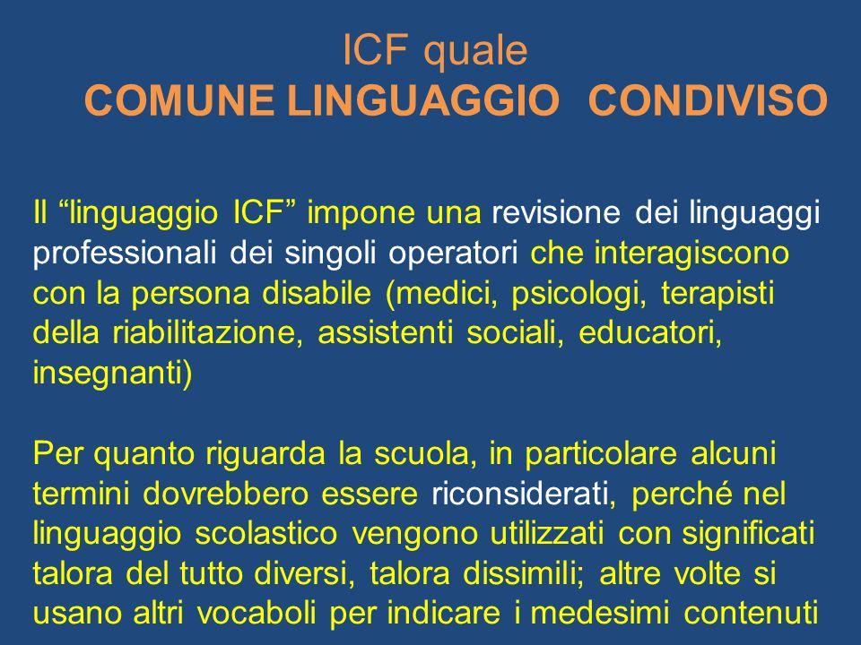 ICF quale COMUNE LINGUAGGIO CONDIVISO Il linguaggio ICF impone una revisione dei linguaggi professionali dei singoli operatori che interagiscono con l