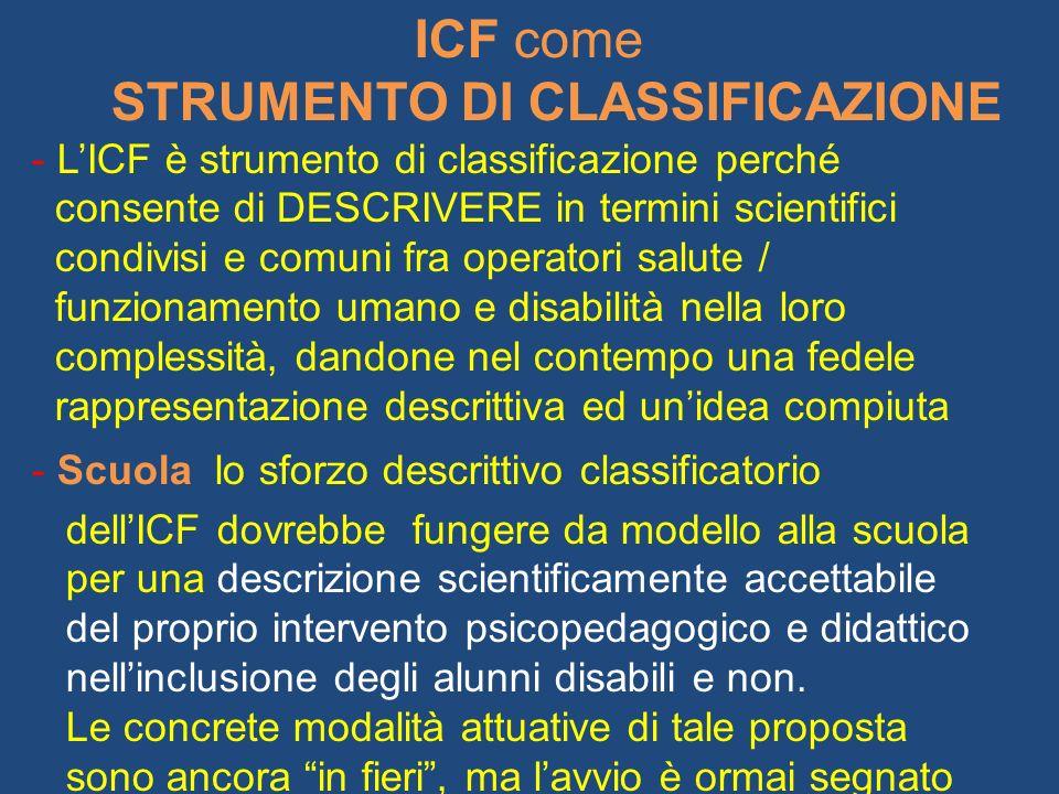 ICF come STRUMENTO DI CLASSIFICAZIONE - LICF è strumento di classificazione perché consente di DESCRIVERE in termini scientifici condivisi e comuni fr