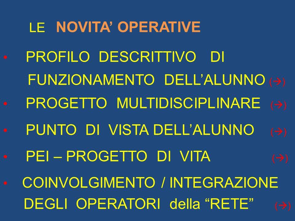 LE NOVITA OPERATIVE PROFILO DESCRITTIVO DI FUNZIONAMENTO DELLALUNNO ( ) PROGETTO MULTIDISCIPLINARE ( ) PUNTO DI VISTA DELLALUNNO ( ) PEI – PROGETTO DI