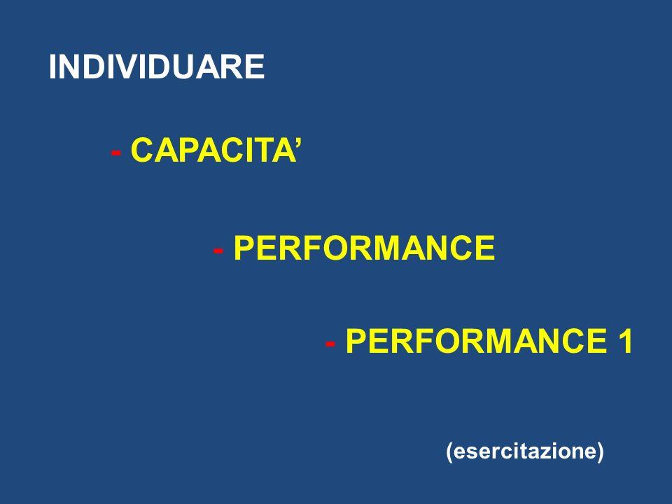 INDIVIDUARE - CAPACITA - PERFORMANCE - PERFORMANCE 1 (esercitazione)