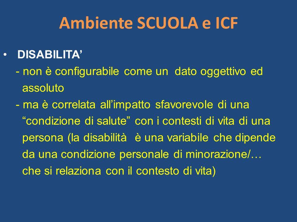 Ambiente SCUOLA e ICF DISABILITA - non è configurabile come un dato oggettivo ed assoluto - ma è correlata allimpatto sfavorevole di una condizione di