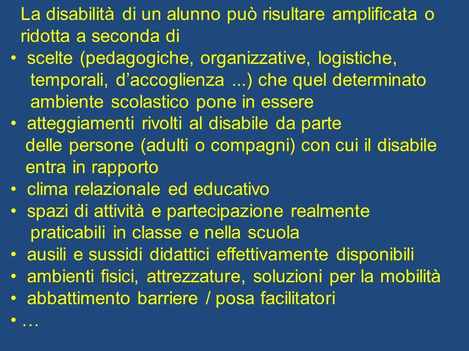 La disabilità di un alunno può risultare amplificata o ridotta a seconda di scelte (pedagogiche, organizzative, logistiche, temporali, daccoglienza...