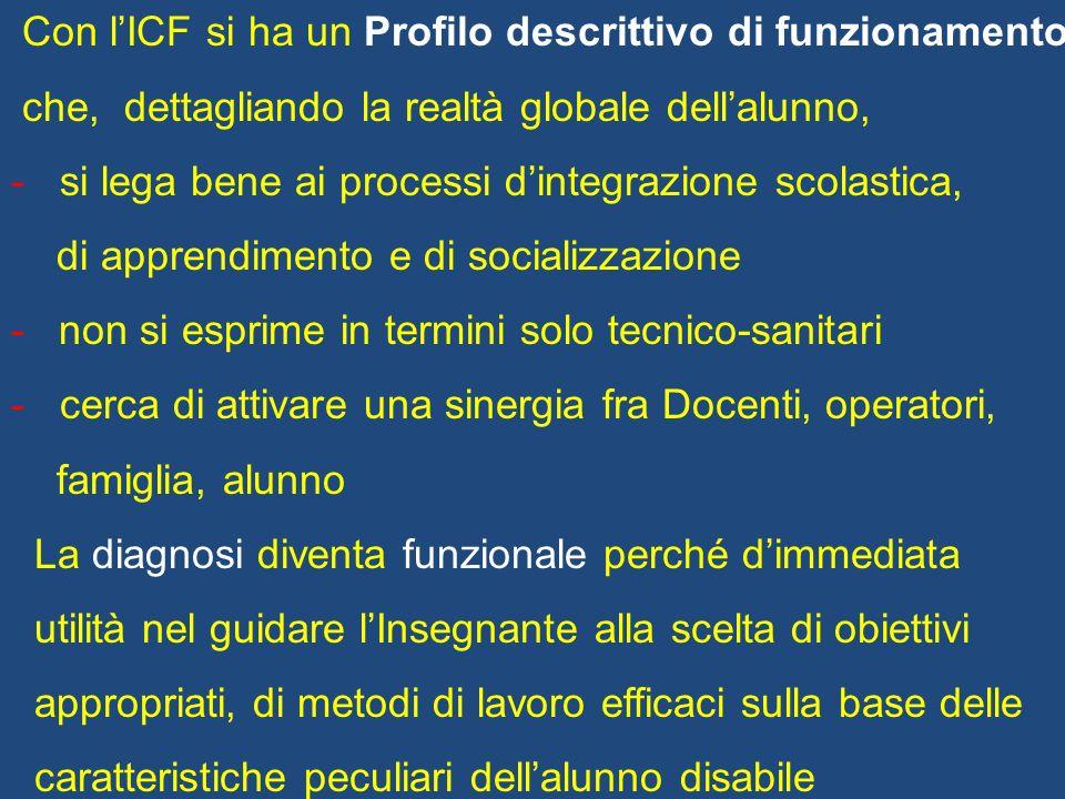 Con lICF si ha un Profilo descrittivo di funzionamento che, dettagliando la realtà globale dellalunno, - si lega bene ai processi dintegrazione scolas
