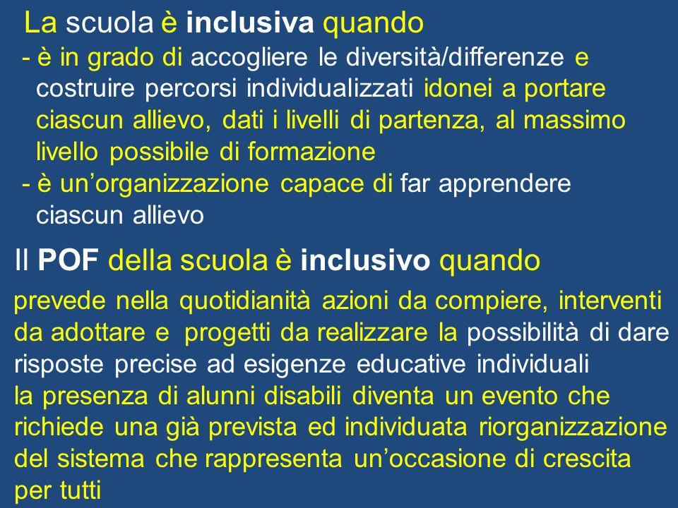 La scuola è inclusiva quando - è in grado di accogliere le diversità/differenze e costruire percorsi individualizzati idonei a portare ciascun allievo