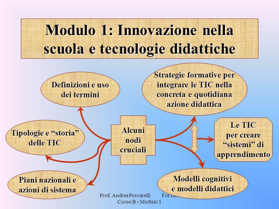 Prof. Andrea Porcarelli ForTic - Corso B - Modulo 1 Modulo 1: Innovazione nella scuola e tecnologie didattiche Alcuni nodi cruciali Definizioni e uso