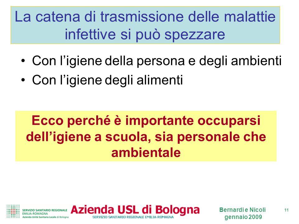 11 Bernardi e Nicoli gennaio 2009 La catena di trasmissione delle malattie infettive si può spezzare Con ligiene della persona e degli ambienti Con li