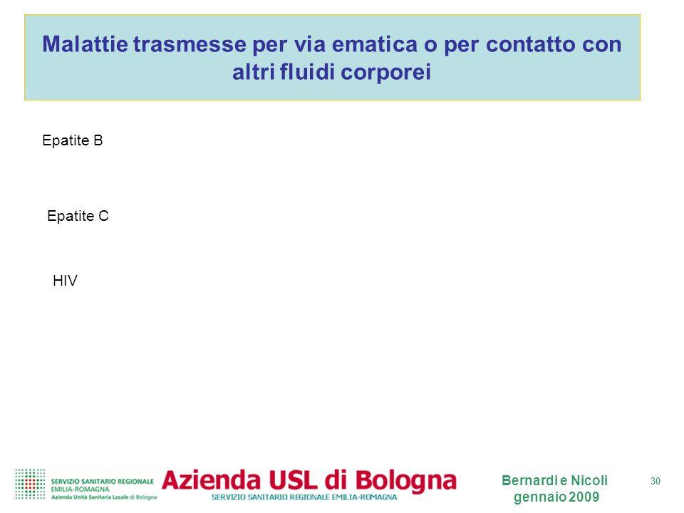 30 Bernardi e Nicoli gennaio 2009 Malattie trasmesse per via ematica o per contatto con altri fluidi corporei Epatite B Epatite C HIV