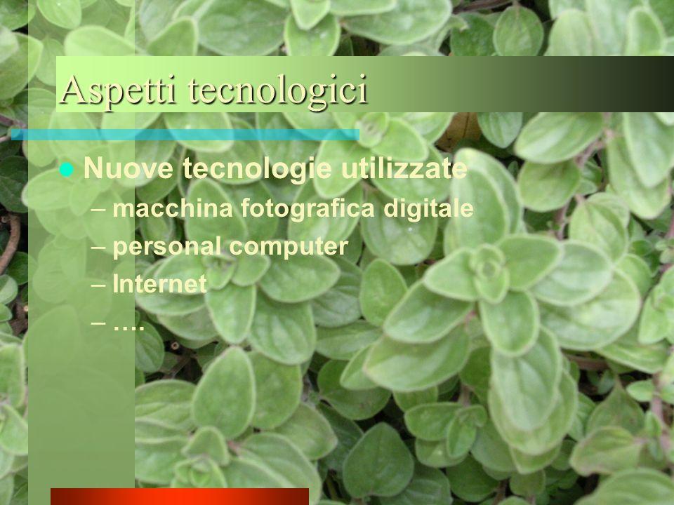 Aspetti tecnologici Nuove tecnologie utilizzate –macchina fotografica digitale –personal computer –Internet –….