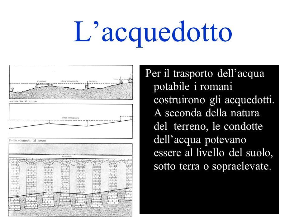 Lacquedotto Per il trasporto dellacqua potabile i romani costruirono gli acquedotti.