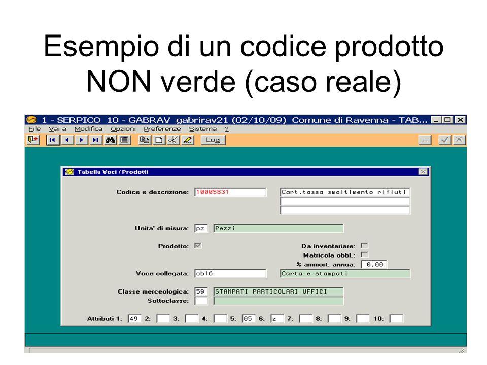 prodotto verde Esempio di un codice prodotto verde (Caso reale)