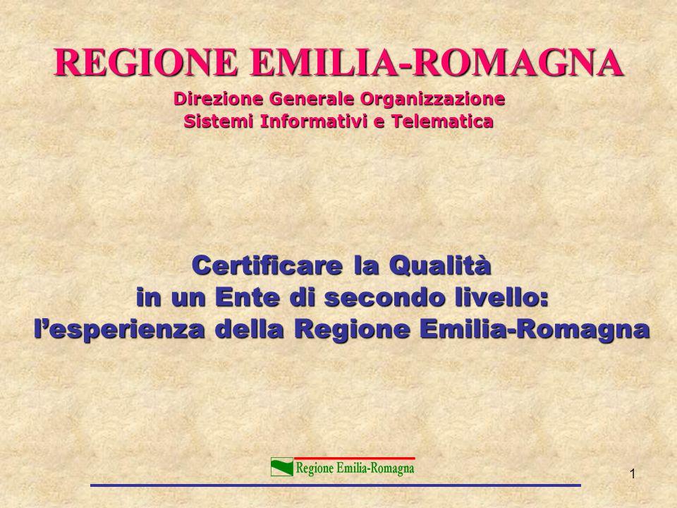 1 Certificare la Qualità in un Ente di secondo livello: lesperienza della Regione Emilia-Romagna REGIONE EMILIA-ROMAGNA Direzione Generale Organizzazi