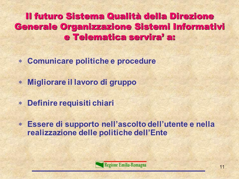 11 Il futuro Sistema Qualità della Direzione Generale Organizzazione Sistemi Informativi e Telematica servira a: Comunicare politiche e procedure Migl