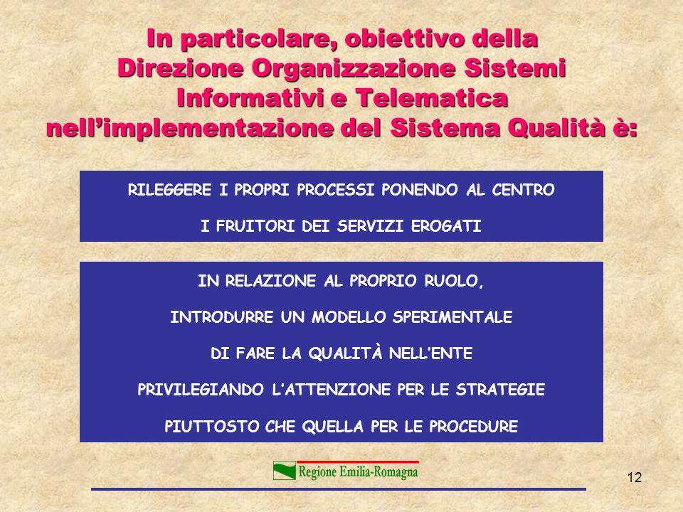 12 In particolare, obiettivo della Direzione Organizzazione Sistemi Informativi e Telematica nellimplementazione del Sistema Qualità è: RILEGGERE I PR
