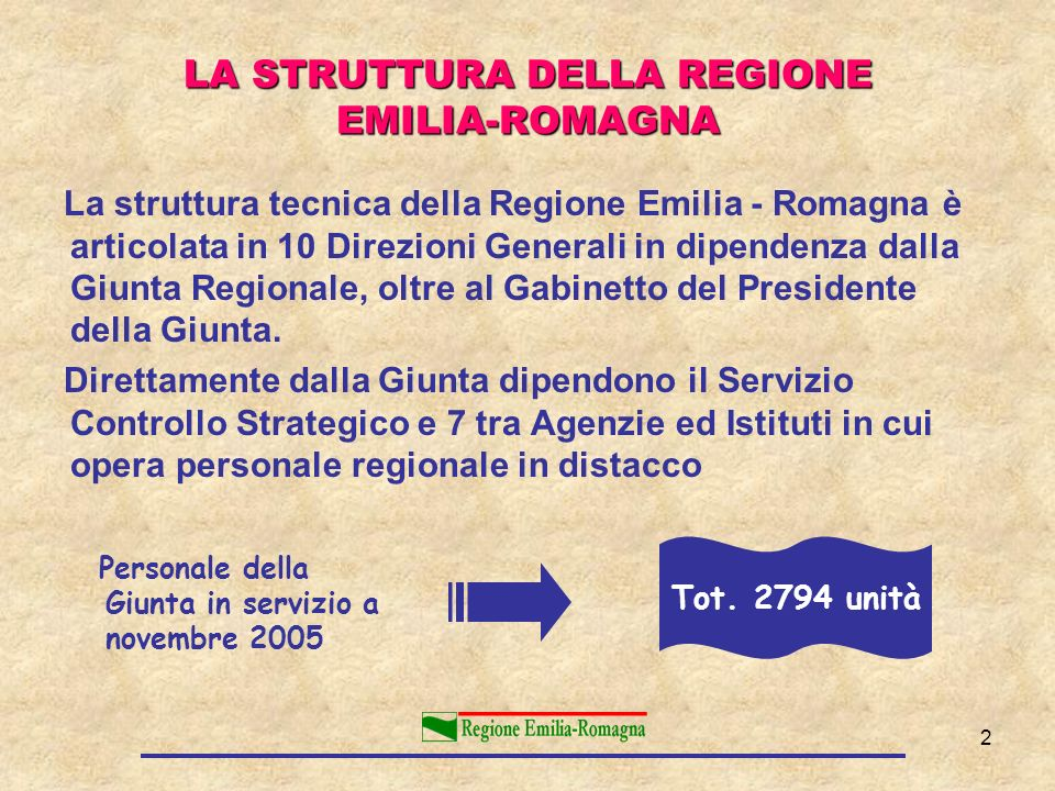 2 LA STRUTTURA DELLA REGIONE EMILIA-ROMAGNA La struttura tecnica della Regione Emilia - Romagna è articolata in 10 Direzioni Generali in dipendenza da