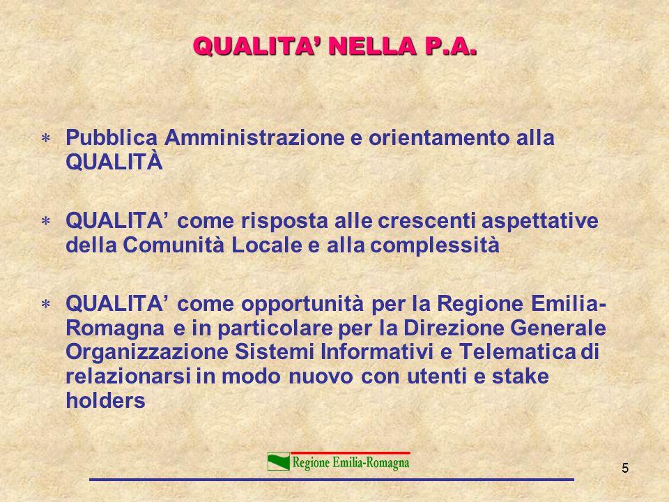 5 Pubblica Amministrazione e orientamento alla QUALITÀ QUALITA come risposta alle crescenti aspettative della Comunità Locale e alla complessità QUALI