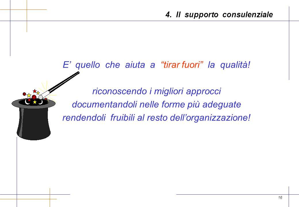 16 4. Il supporto consulenziale E quello che aiuta a tirar fuori la qualità.