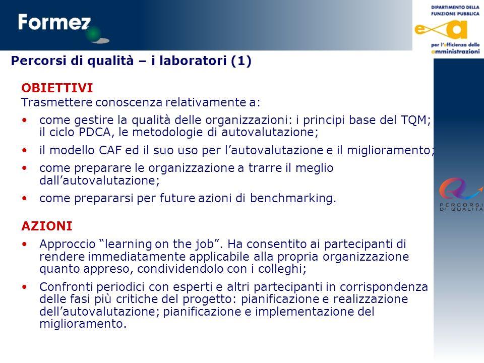 Percorsi di qualità – i laboratori (1) OBIETTIVI Trasmettere conoscenza relativamente a: come gestire la qualità delle organizzazioni: i principi base