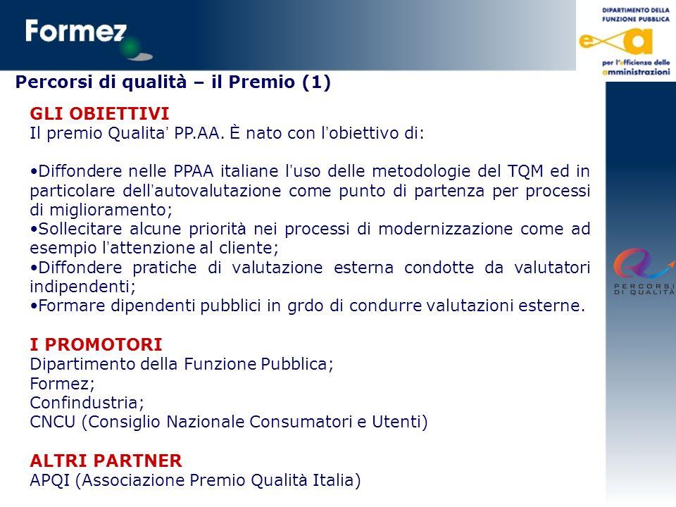 Percorsi di qualità – il Premio (1) GLI OBIETTIVI Il premio Qualita PP.AA. È nato con l obiettivo di: Diffondere nelle PPAA italiane l uso delle metod