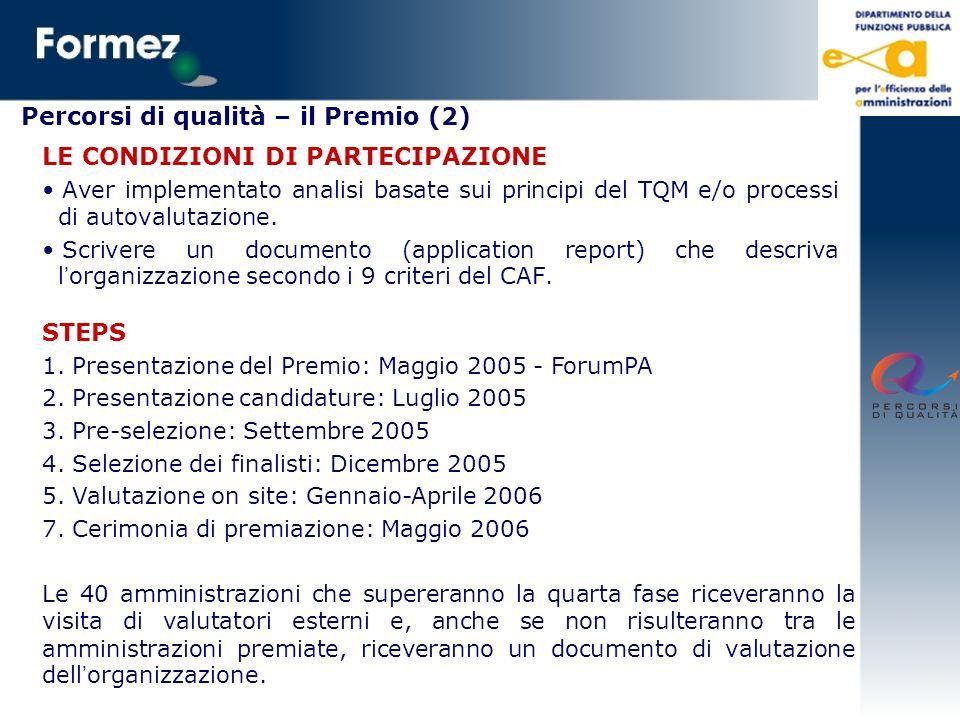 Percorsi di qualità – il Premio (2) LE CONDIZIONI DI PARTECIPAZIONE Aver implementato analisi basate sui principi del TQM e/o processi di autovalutazi