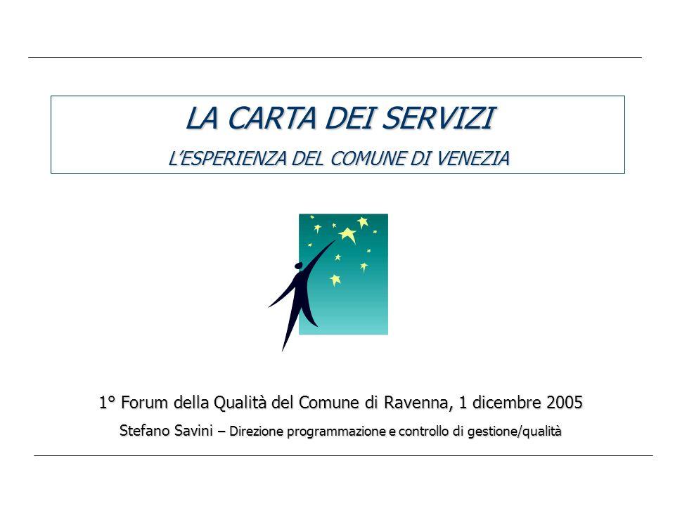 LA CARTA DEI SERVIZI LESPERIENZA DEL COMUNE DI VENEZIA 1° Forum della Qualità del Comune di Ravenna, 1 dicembre 2005 Stefano Savini – Direzione programmazione e controllo di gestione/qualità