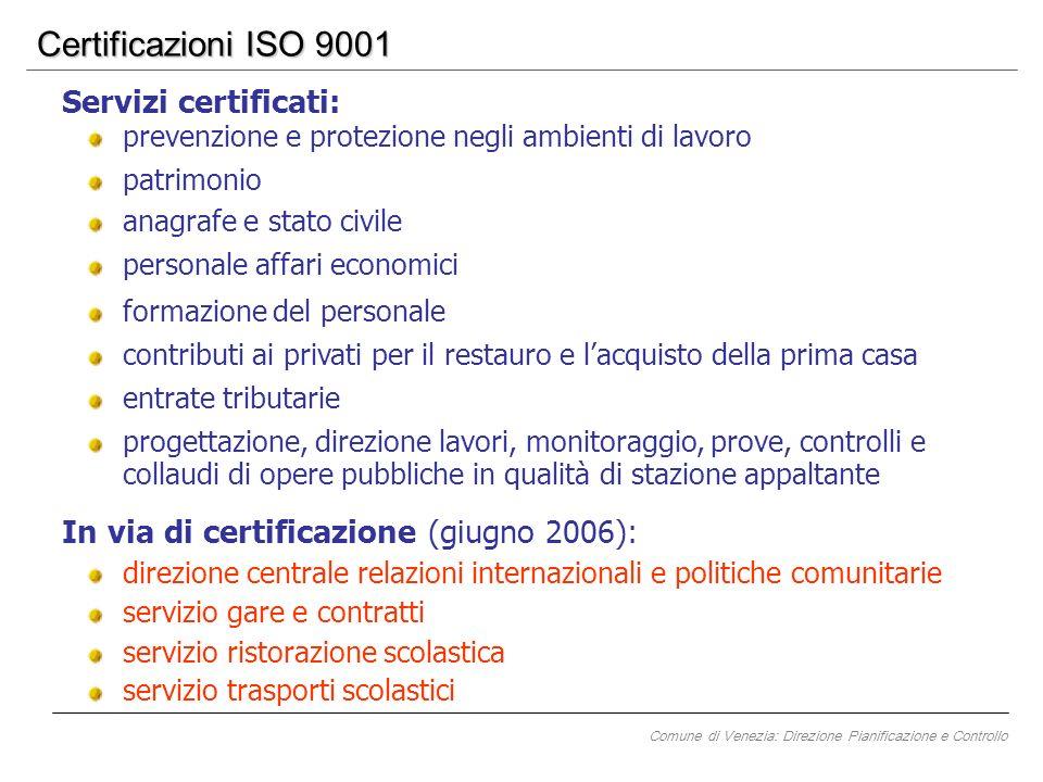 Certificazioni ISO 9001 servizio gare e contratti In via di certificazione (giugno 2006): servizio ristorazione scolastica servizio trasporti scolasti