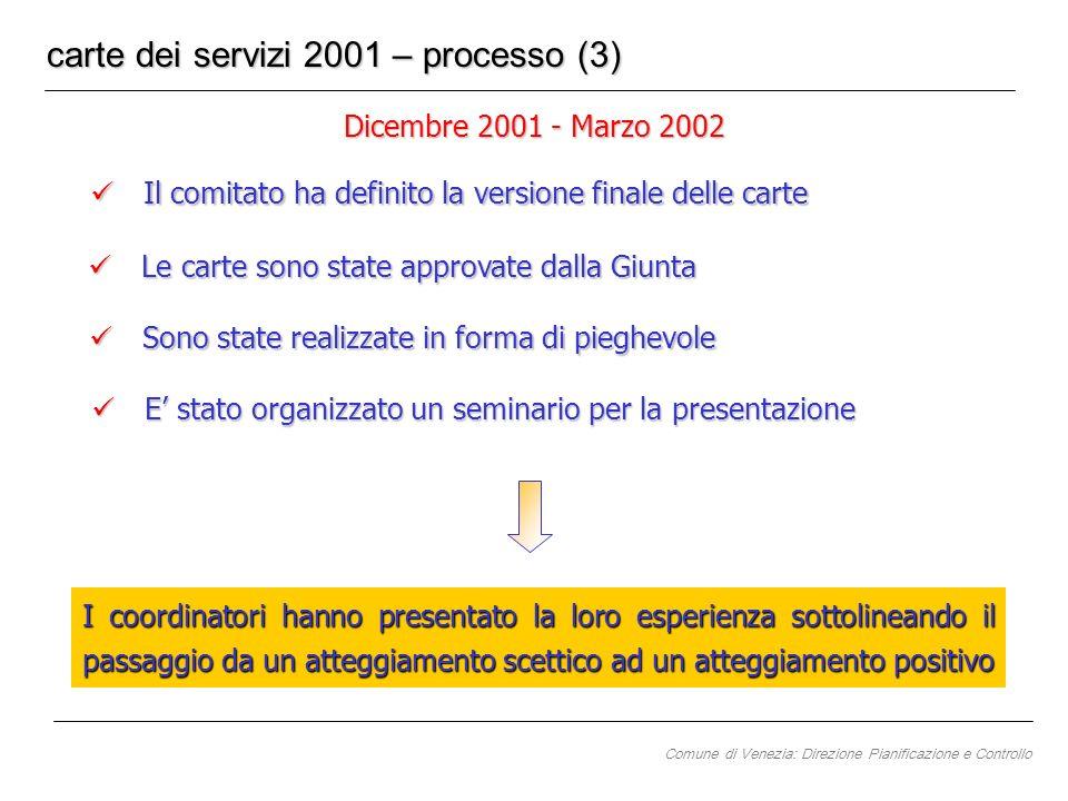 Dicembre 2001 - Marzo 2002 carte dei servizi 2001 – processo (3) Il comitato ha definito la versione finale delle carte Il comitato ha definito la ver