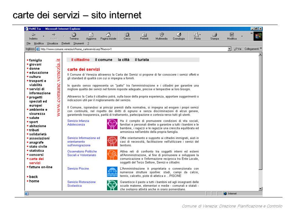 carte dei servizi – sito internet Comune di Venezia: Direzione Pianificazione e Controllo