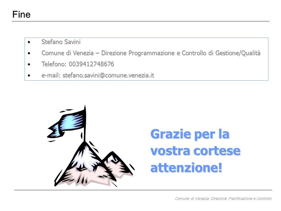 Fine Stefano SaviniStefano Savini Comune di Venezia – Direzione Programmazione e Controllo di Gestione/QualitàComune di Venezia – Direzione Programmaz