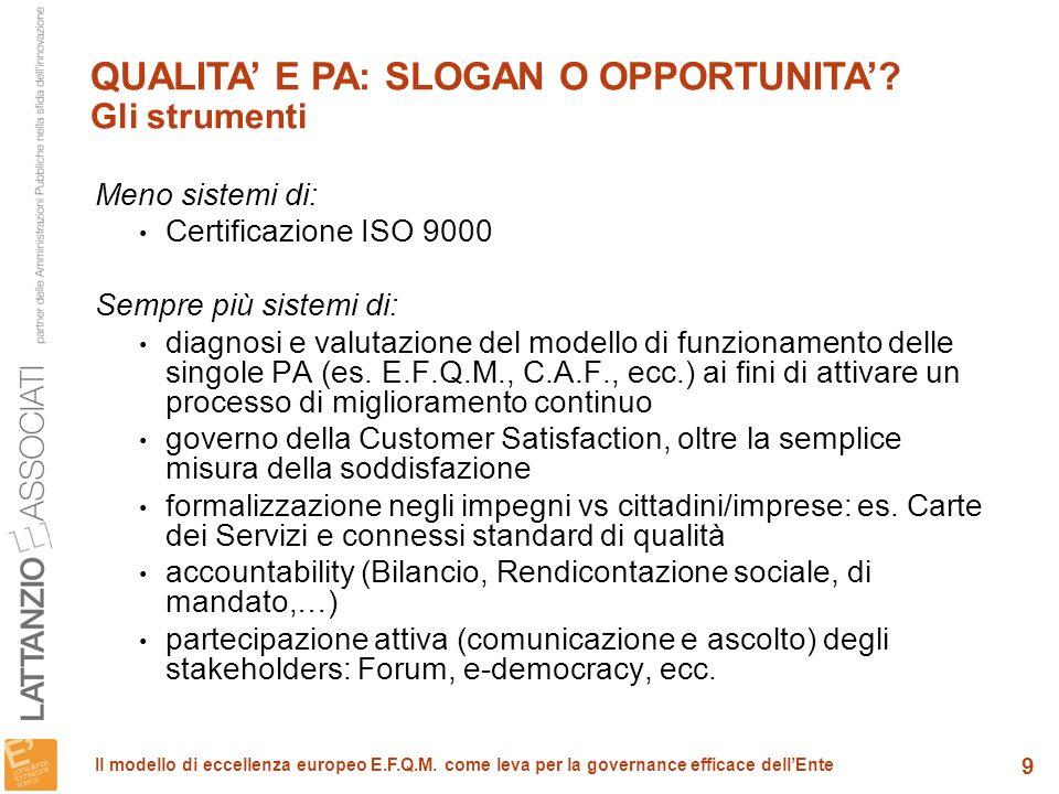 10 Il modello di eccellenza europeo E.F.Q.M.come leva per la governance efficace dellEnte E.F.Q.M.