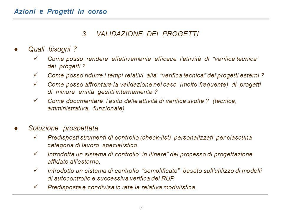 9 Azioni e Progetti in corso 3.VALIDAZIONE DEI PROGETTI Quali bisogni .