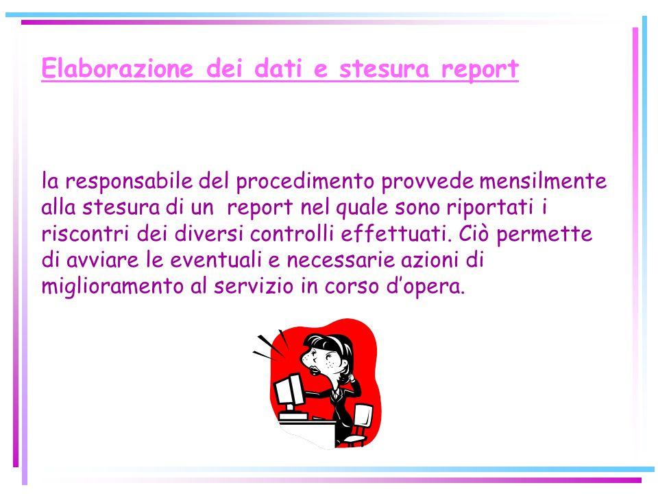 Elaborazione dei dati e stesura report la responsabile del procedimento provvede mensilmente alla stesura di un report nel quale sono riportati i risc