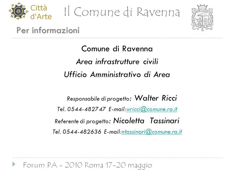 Per informazioni Comune di Ravenna Area infrastrutture civili Ufficio Amministrativo di Area Responsabile di progetto : Walter Ricci Tel.