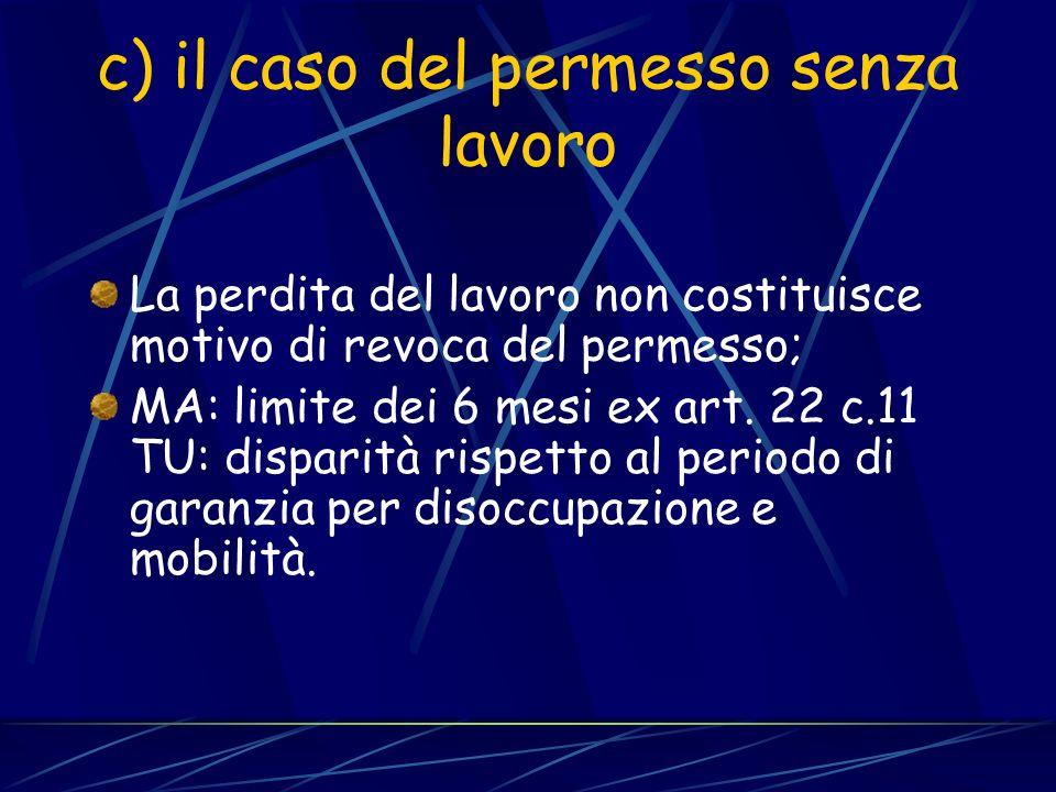 b) Dove permane la disparità Il contratto di soggiorno (art.