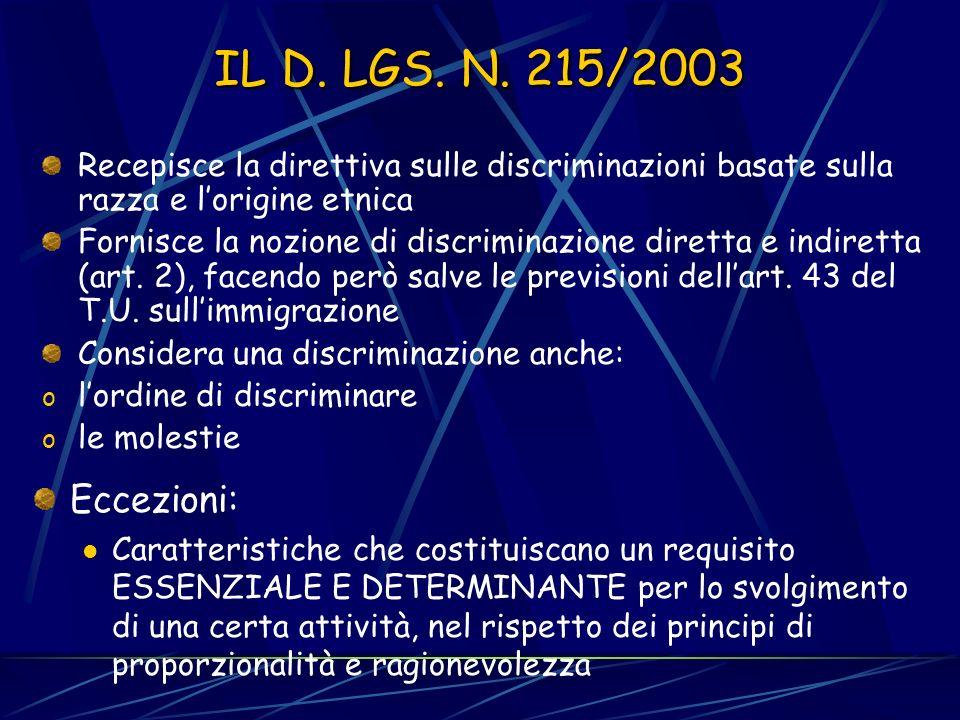 LA DIRETTIVA 2000/43 Riguarda le discriminazioni in base alla razza e allorigine etnica (comprese le molestie e lordine di discriminare) Ha un campo di applicazione esteso oltre lambito del rapporto di lavoro (art.