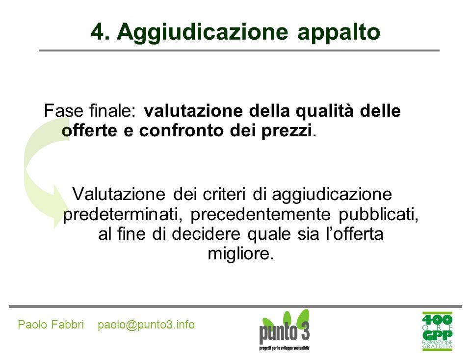 Paolo Fabbri paolo@punto3.info 4.Aggiudicazione appalto Criteri di aggiudicazione dellappalto Art.