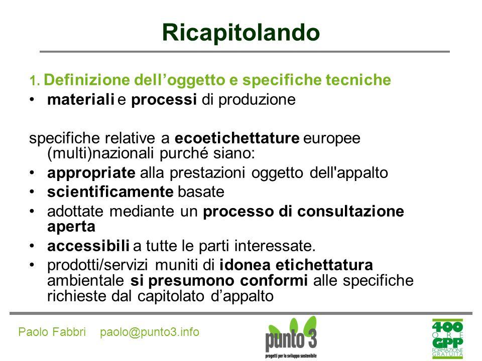 Paolo Fabbri paolo@punto3.info Ricapitolando 2.