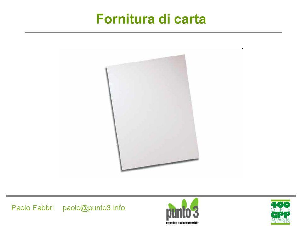 Paolo Fabbri paolo@punto3.info Fornitura di carta CRITERI AMBIENTALI DI PRODOTTO (specifiche tecniche) Opzione 1 - Acquisto di carta vergine il prodotto deve essere composto da fibre provenienti da foreste gestite in modo sostenibile.