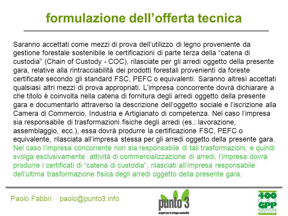 Paolo Fabbri paolo@punto3.info Fornitura di veicoli a basso impatto ambientale