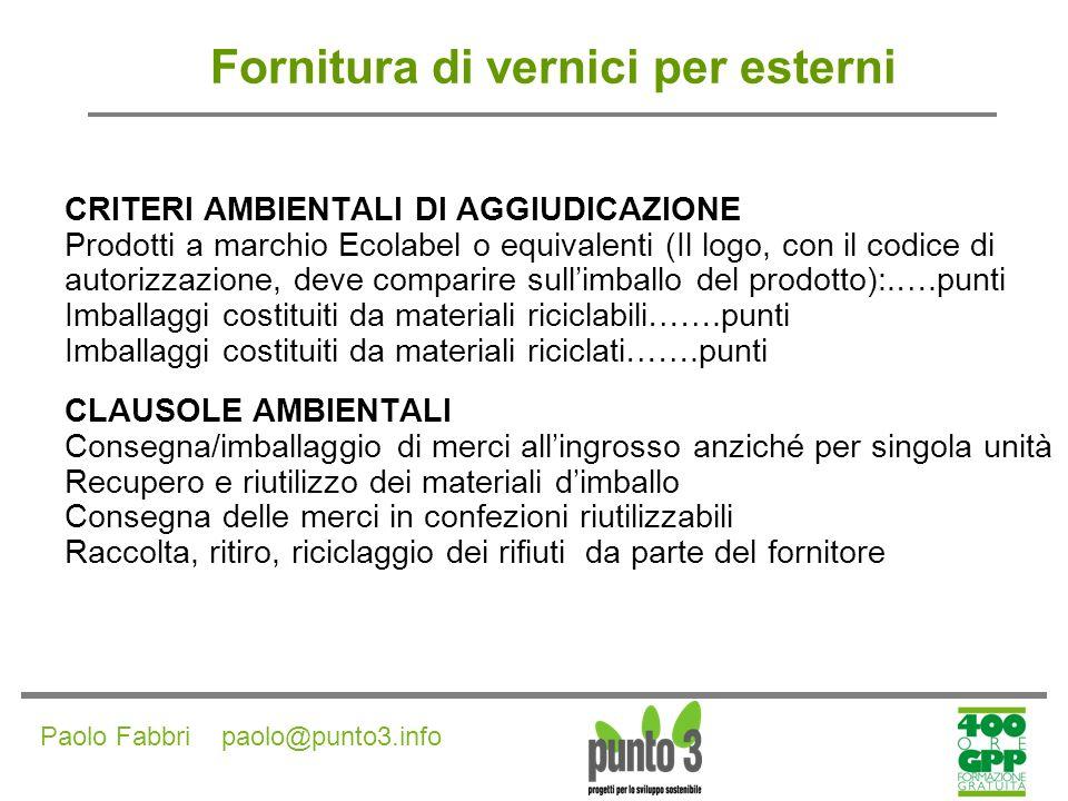 Paolo Fabbri paolo@punto3.info Fornitura di prodotti di pulizia