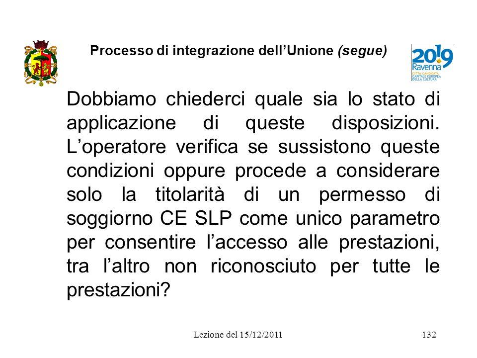 Processo di integrazione dellUnione (segue) Dobbiamo chiederci quale sia lo stato di applicazione di queste disposizioni. Loperatore verifica se sussi