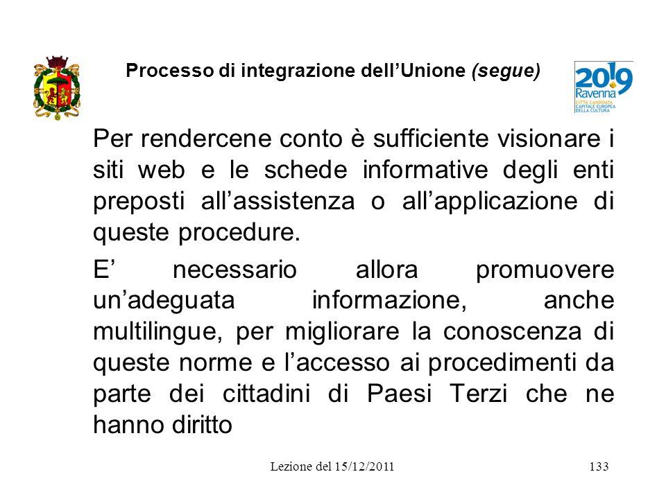 Processo di integrazione dellUnione (segue) Per rendercene conto è sufficiente visionare i siti web e le schede informative degli enti preposti allass